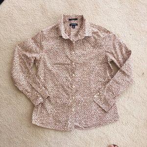 Lands End Print Button Up Shirt